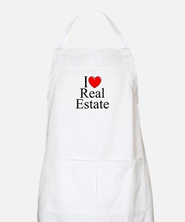 """I Love (Heart) Real Estate"" BBQ Apron"
