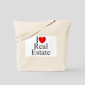 """I Love (Heart) Real Estate"" Tote Bag"