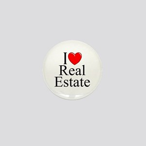 """I Love (Heart) Real Estate"" Mini Button"