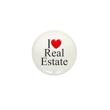 """""""I Love (Heart) Real Estate"""" Mini Button"""