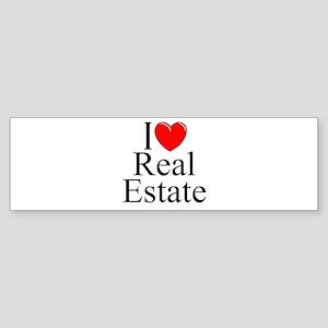 """""""I Love (Heart) Real Estate"""" Bumper Sticker"""