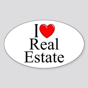 """I Love (Heart) Real Estate"" Oval Sticker"