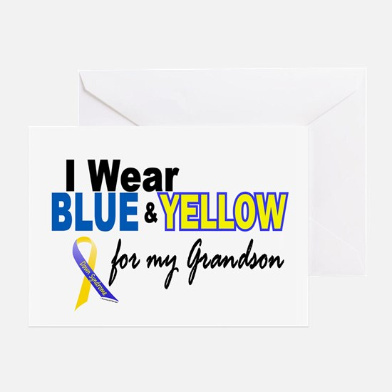 I Wear Blue & Yellow....2 (Grandson) Greeting Card