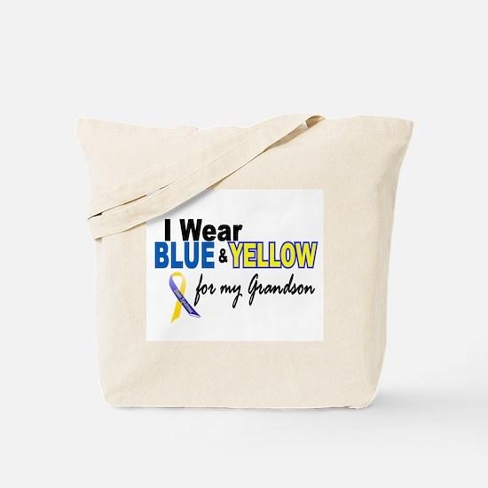 I Wear Blue & Yellow....2 (Grandson) Tote Bag