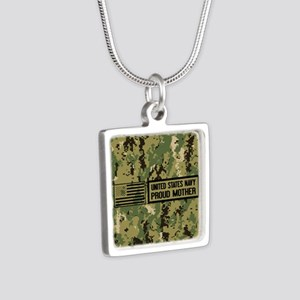 U.S. Navy: Proud Mother (C Silver Square Necklace