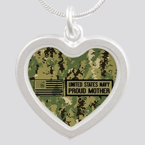 U.S. Navy: Proud Mother (Cam Silver Heart Necklace