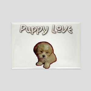 Puppy Love Rectangle Magnet - Lhasa Apso