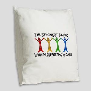Women Supporting Women Burlap Throw Pillow