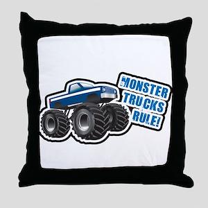 Blue Monster Truck Throw Pillow