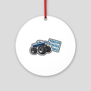Blue Monster Truck Ornament (Round)