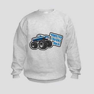 Blue Monster Truck Kids Sweatshirt