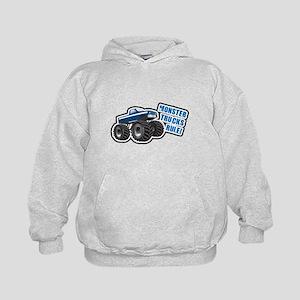 Blue Monster Truck Kids Hoodie