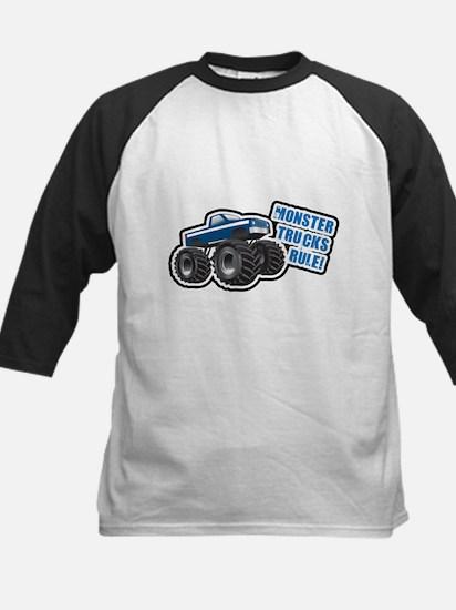 Blue Monster Truck Kids Baseball Jersey