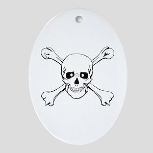 Skull & Crossbones Oval Ornament