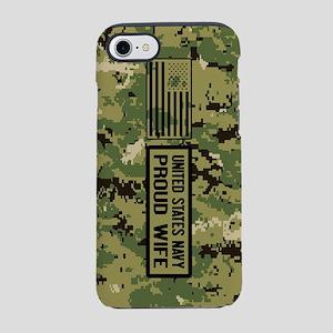 U.S. Navy: Proud Wife (Camo) iPhone 8/7 Tough Case