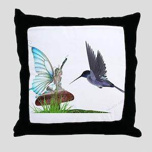 Hummingbird and Fairy Throw Pillow