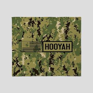 U.S. Navy: Hooyah (Camo) Throw Blanket