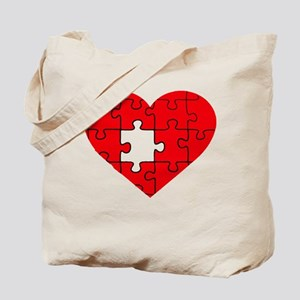 missing puzzle piece heart Tote Bag