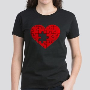 missing puzzle piece heart Women's Dark T-Shirt