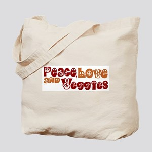 Peace, Love and Veggies Tote Bag