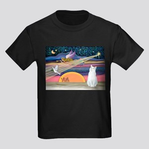 Xmas Star / White Cat Kids Dark T-Shirt