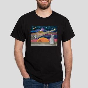 Xmas Star / White Cat Dark T-Shirt
