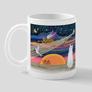 Xmas Star / White Cat Mug