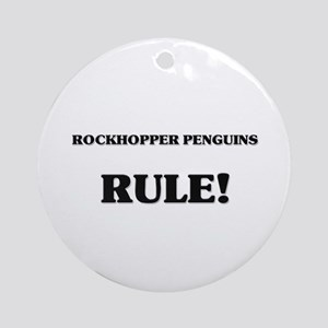 Rockhopper Penguins Rule Ornament (Round)