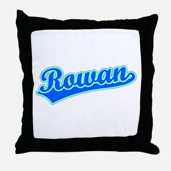 Retro Rowan (Blue) Throw Pillow