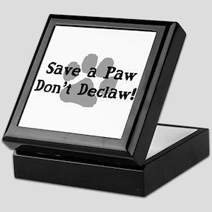 Save a Paw, Don't Declaw Keepsake Box