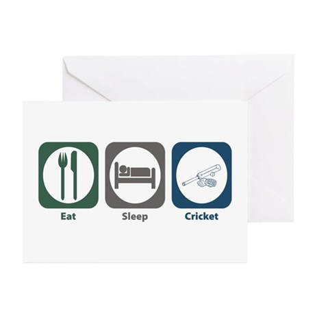 Eat Sleep Cricket Greeting Cards (Pk of 10)