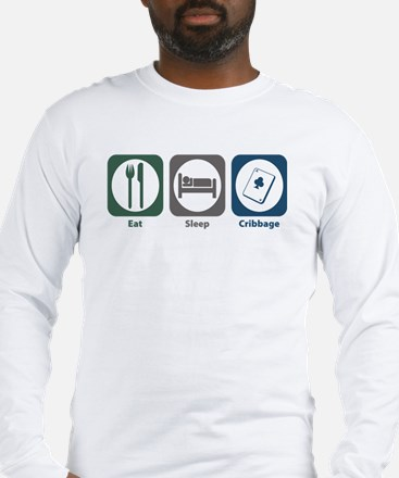 Eat Sleep Cribbage Long Sleeve T-Shirt