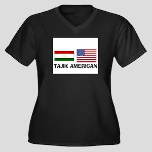Tajik American Women's Plus Size V-Neck Dark T-Shi