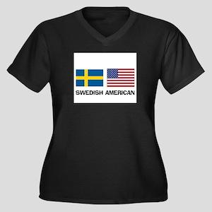 Swedish American Women's Plus Size V-Neck Dark T-S