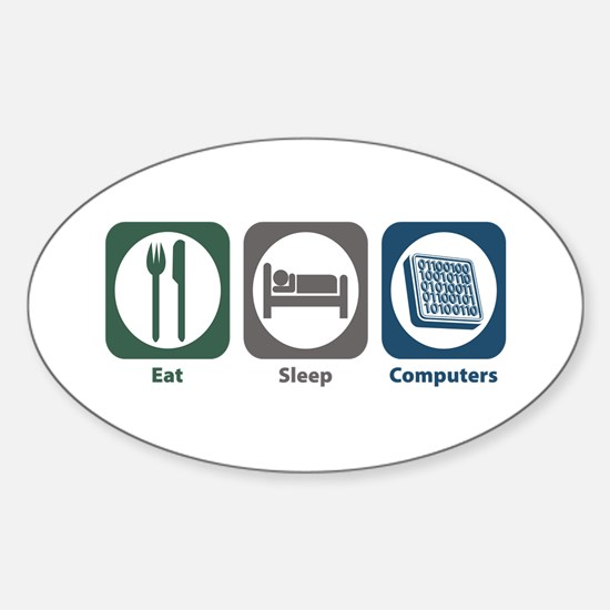 Eat Sleep Computers Oval Decal