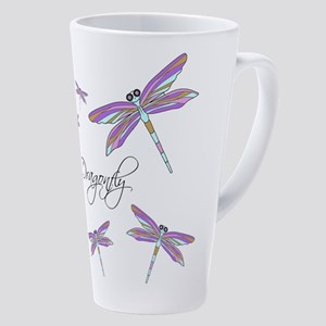 Dragonfly Flowers 17 oz Latte Mug