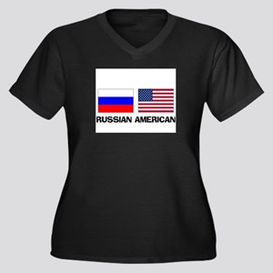 Russian American Women's Plus Size V-Neck Dark T-S