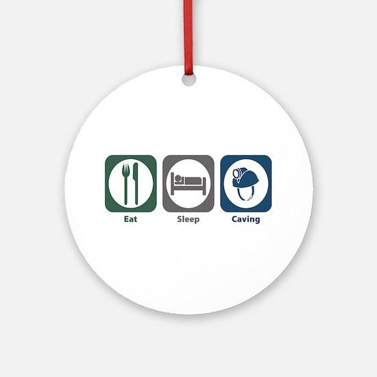 Eat Sleep Caving Ornament (Round)