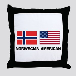 Norwegian American Throw Pillow