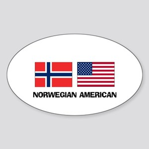 Norwegian American Oval Sticker