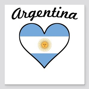 "Argentina Flag Heart Square Car Magnet 3"" x 3"""