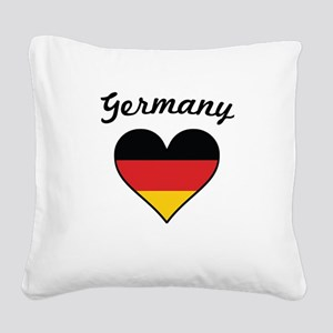 Germany Flag Heart Square Canvas Pillow