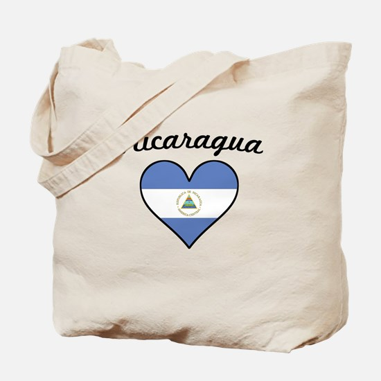 Nicaragua Flag Heart Tote Bag