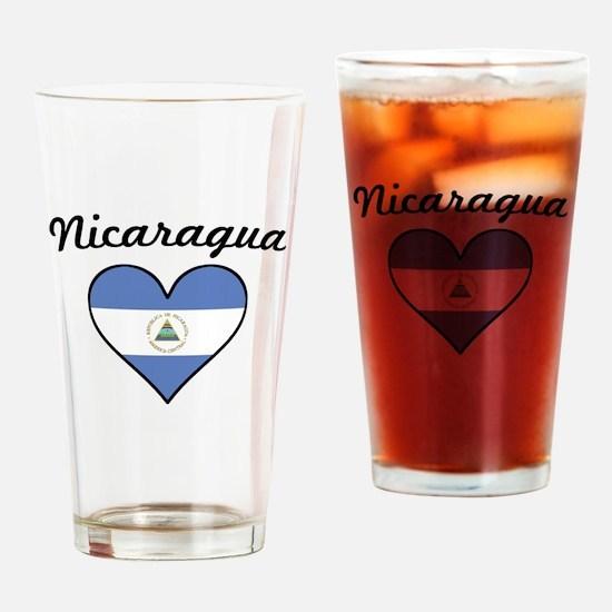 Nicaragua Flag Heart Drinking Glass