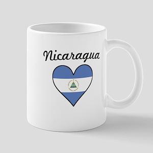 Nicaragua Flag Heart Mugs