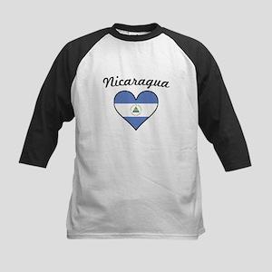 Nicaragua Flag Heart Baseball Jersey