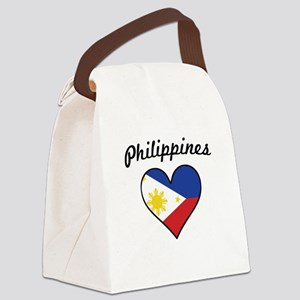 Philippines Flag Heart Canvas Lunch Bag