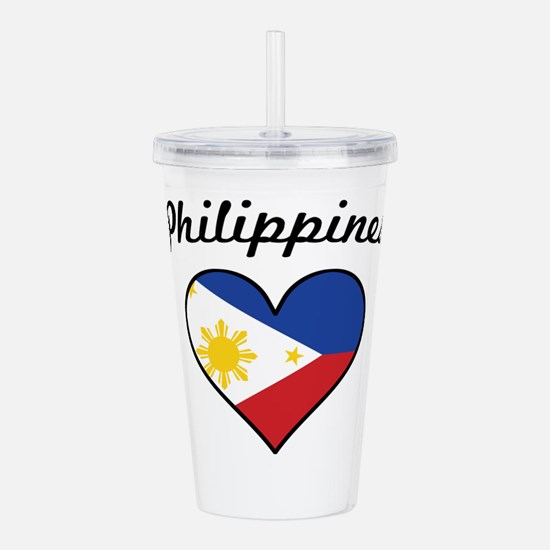 Philippines Flag Heart Acrylic Double-wall Tumbler