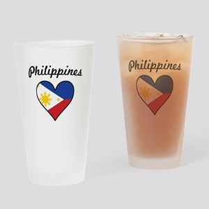 Philippines Flag Heart Drinking Glass