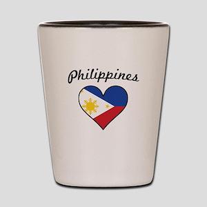 Philippines Flag Heart Shot Glass